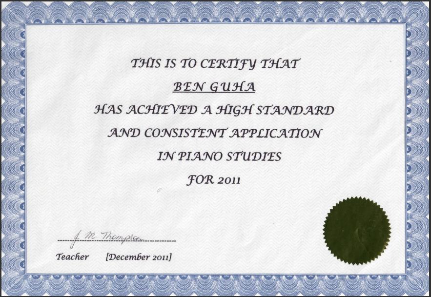 Bens - Piano Certificate