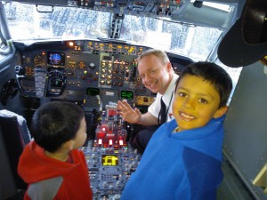 The kids got to go in the cockpit on the flight to Melbourne. Matthew was in awe as the pilots name was Matthew too.
